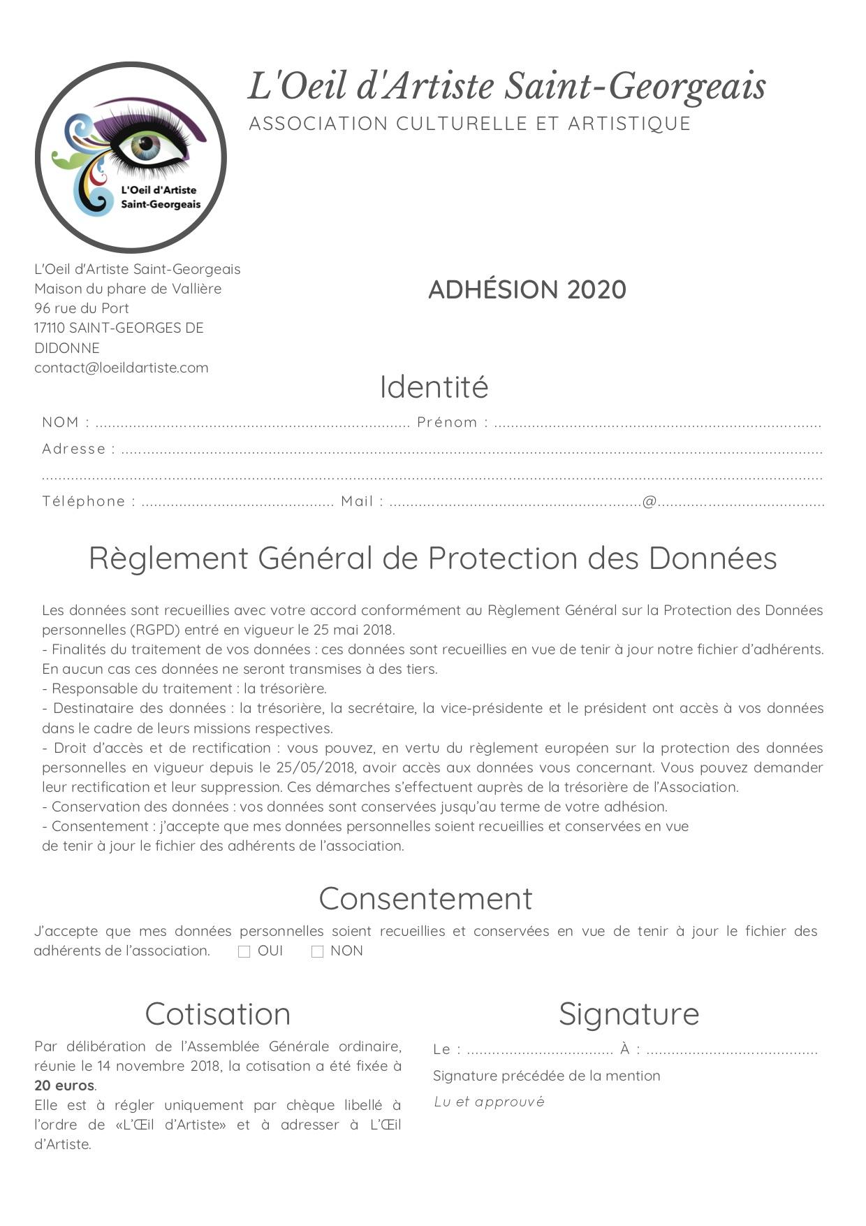 Formulaire d'adhésion 2020 - L'Oeil d'Artiste